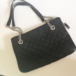 calvin klein quilted leather shoulder bag